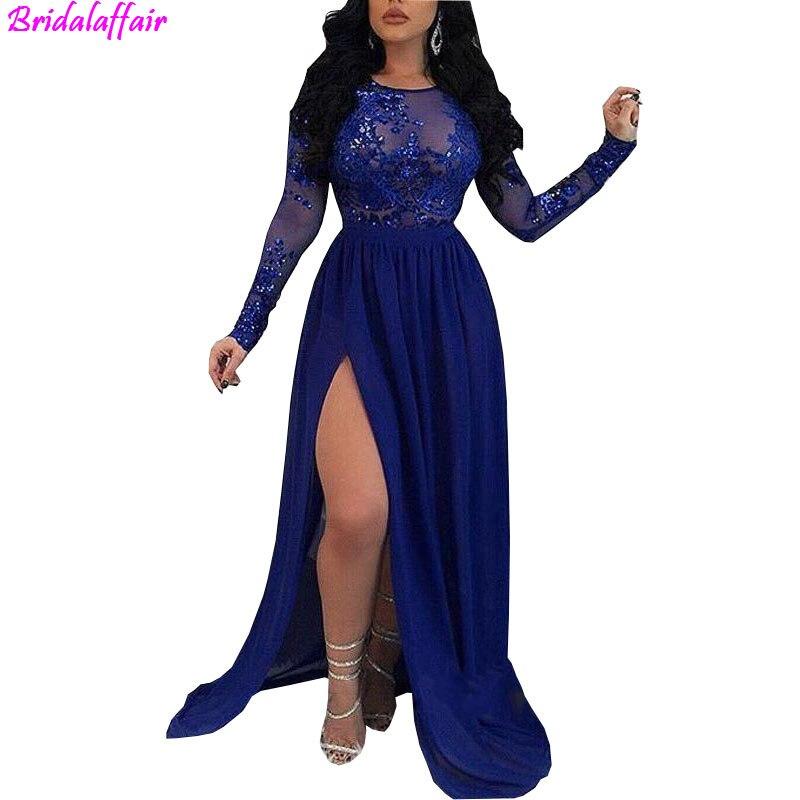 Transparent manches longues bleu Royal sirène robes de bal 2019 paillettes Appliques côté fente robes de soirée dos nu tenue de soirée robe