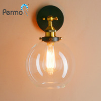 Permo Loft Industrial Wall Lamp Vintage Sconce Wall Lights 7.9 Globe Glass E27 Base Stair Living room Bedroom Lights Fixtures