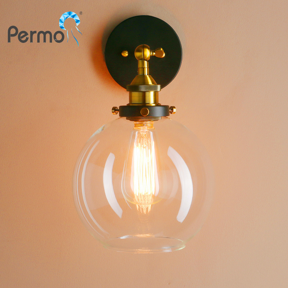 PERMO 7.9 Vintage Industrial Sconce Wall Lights Globe Glass Shape Loft Wall Lamp E27 Base New Year Christmas Lights Fixtures