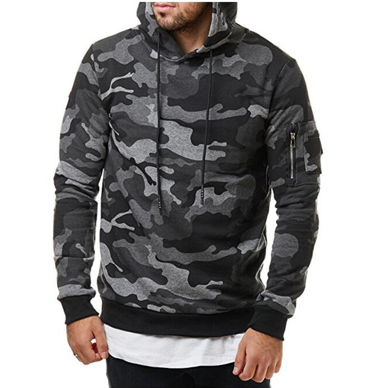 Dropshipping 2018 Camouflage Hoodies Men Slim Fit Casual Hooded Sweatshirts Male Clothing Zipper Military Hoody Pullovers
