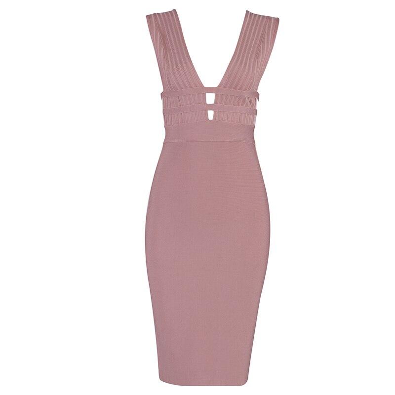 Hot Summer Women Bandage Dress Vestidos Verano 2019 New Tank Sexy Deep V-Neck Sleeveless Bodycon Club Celebrity Party Dresses