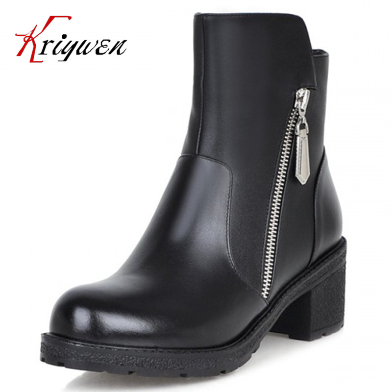 ФОТО Spring Autumn winter Women Ankle Boots Vintage Square High Heels Design Party Casual Outdoor Dress Shoes martin Motorcycle Boots