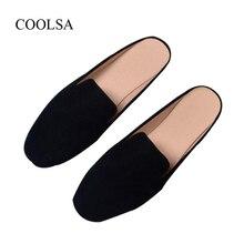COOLSA kadın yaz düz alt açık terlik katı süet ayak kaplı terlik kadınlar katır ayakkabı kadın sandalet büyük boy 11