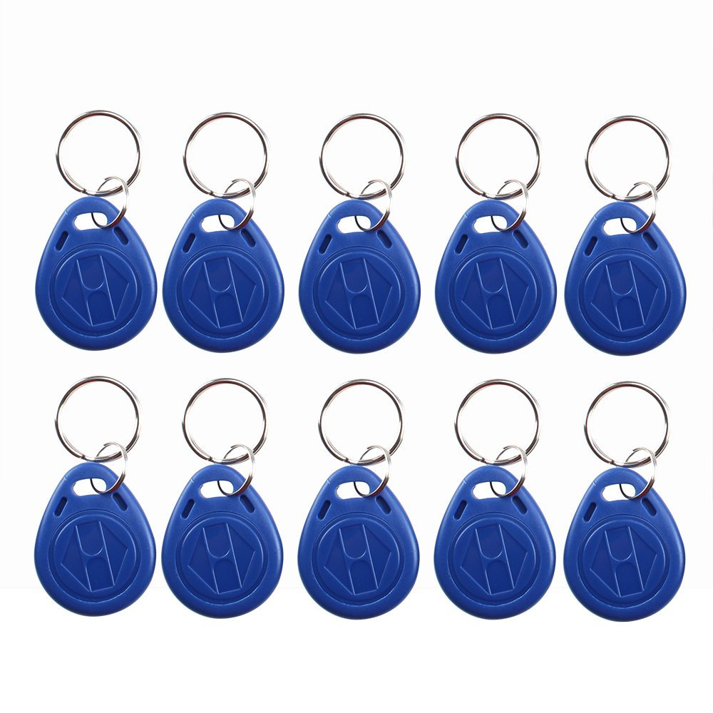 (pack Of 10) 125kHz T5577 RFID Keychains Proximity ID Entry Access Key Fob For Access Control System Blue Color