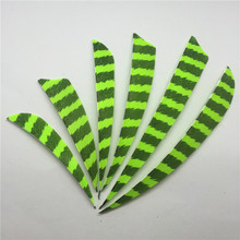 "ONTFIHS 100pcs 3"" 4"" 5"" Water Drop Shield Striped Fluorescent Green Archery Arrow Feather Fletches Fletching Turkey feather"
