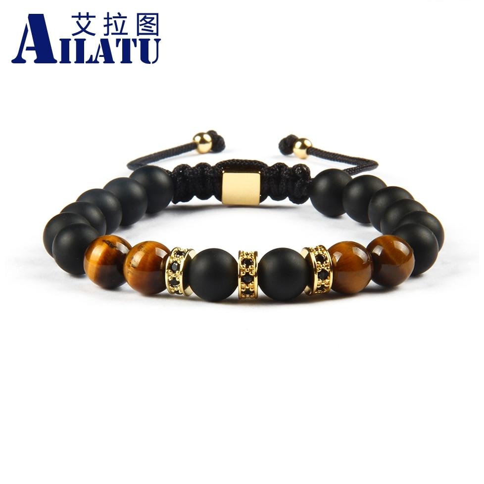 Ailatu Großhandel 10 teile/los Cubic Micro Pflastern Schwarz CZ Spacer Perlen Macrame Armband mit Natürlichen Tigerauge Stein Perlen-in Strang-Armbänder aus Schmuck und Accessoires bei  Gruppe 1