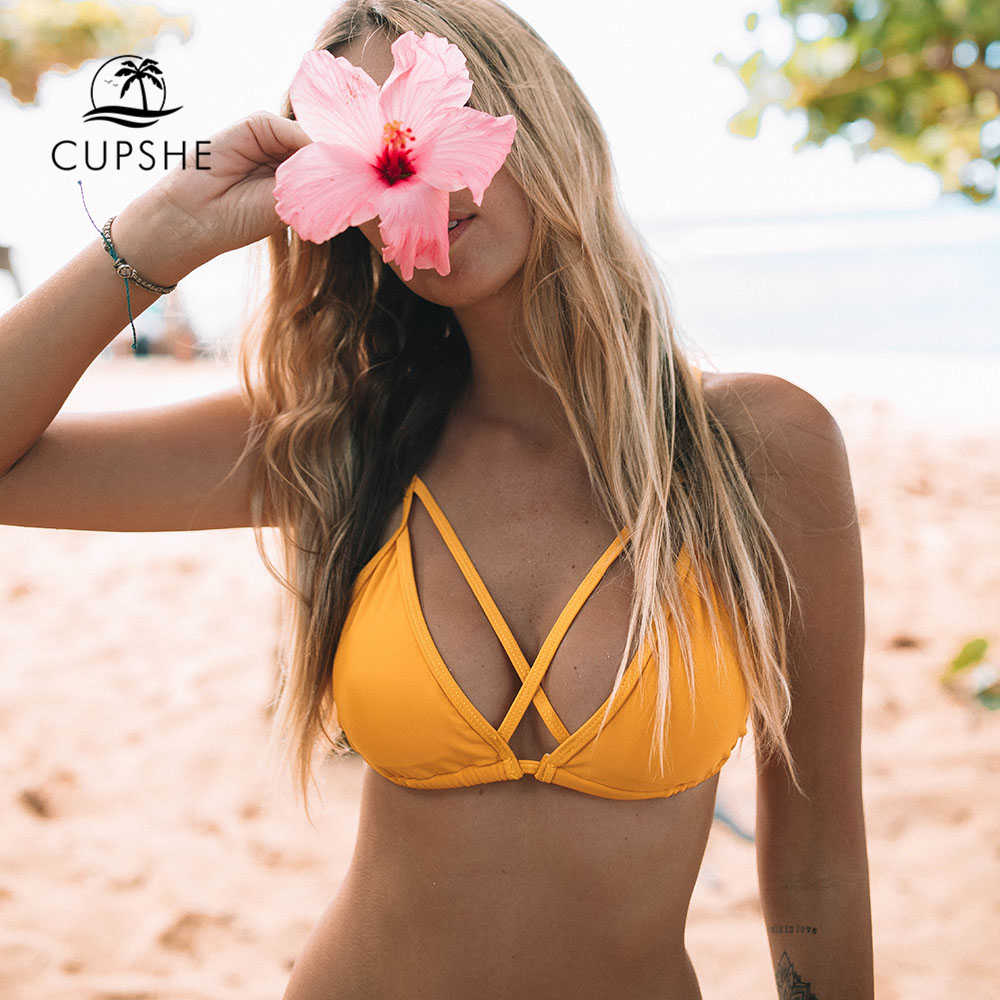 CUPSHE желтый цветочный принт и сплошной Крест женские комплекты бикини сердце шеи спинки Купальник из двух частей 2018 сексуальные купальные костюмы Thong