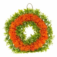 12 Round Shaped Plants Wreath Plastic Plant Floral Front Door Wreath Hanging Wall Window Decoration Seasonal
