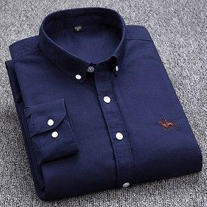 Image 4 - בתוספת גודל 4XL 100% כותנה גברים של אוקספורד מקרית חולצת כפתורים ארוך שרוולים מוצק איש עסקים באיכות גבוהה חכם מזדמן חולצה