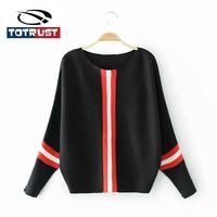 TOTRUST Stripe Knitted Women Batwing Sweater 2018 New Autumn Long Sleeve Sweaters And Pullover Mujer Ladies Jumper Pull Femme
