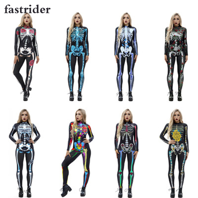 66e6b3b6067 High quality 2018 Mechanical Bone Cosplay Costume Catsuit Scary Skull  Bodysuit Skeleton Jumpsuit Halloween Costumes For Women