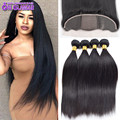 Top 13x4 Silk Base Lace Frontal With Bundles Cheap Indian Remy Hair Straight 4 Bundles With Closure Mink Frontal Closure Weave