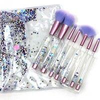 Yansh New Makeup Brushes 7pcs Make Up Brushes Set Foundation Fan Blusher Concear Crystal Handle Makeup