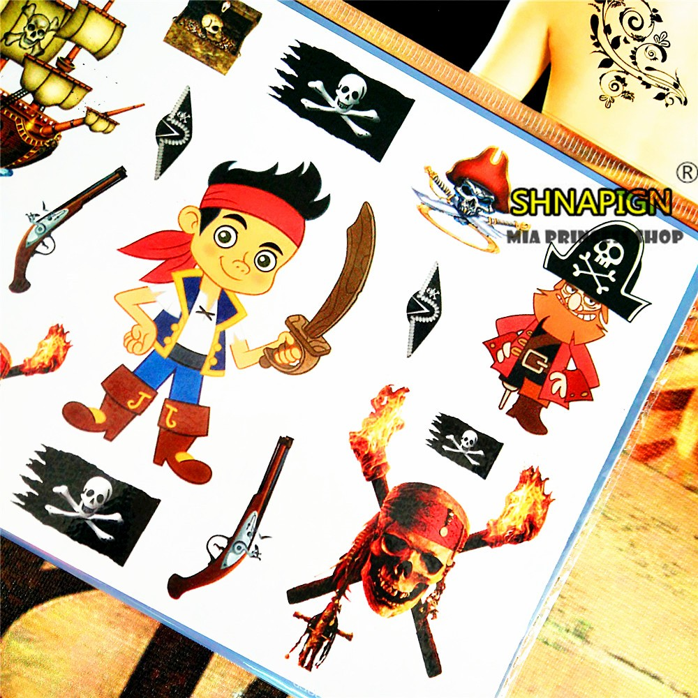 SHNAPIGN Pirates of Carribean Child Temporary Tattoo Body Art Flash Tattoo Stickers 17*10cm Waterproof Henna Styling Sticker 11