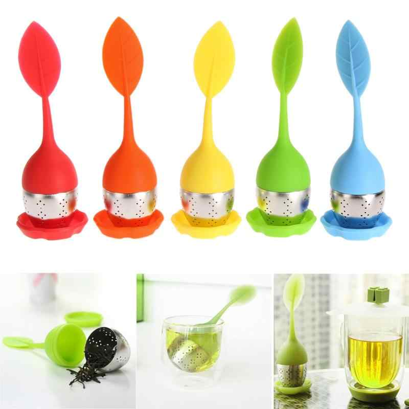 2019 Silicone Sweet Leaf Shape Tea Strainer Teapot with Drop Tray Tea Infuser for Loose Leaf Herbal Spice Filter Tools Drinkware