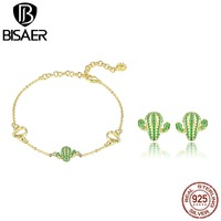 BISAER 925 Sterling Silver Dazzling Green Cactus Bracelet & Stud Earrings Jewelry Sets For Women Fashion Gift Party HPS079