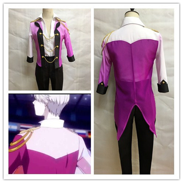 Anime Cosplay Yuri on Ice Cosplay Costume Victor Nikiforov Uniform Suit Outfit Shirt & Coat & Pants & Gloves Halloween Costume
