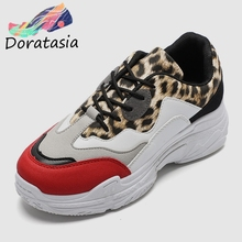 DORATASIA Brand New Big Size 36-41 Dad Shoes Leopard Ladies Med Heels Sneakers Woman Casual Party Spring Autumn Flats