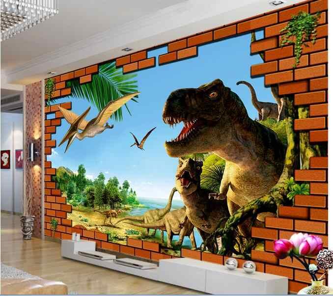 3d Ruang Wallpaper Custom Mural Dinding Bata Dinosaurus Era Latar Belakang Lukisan Foto Dekorasi Rumah Ruang Tamu Wallpaper Untuk Dinding 3 D Wallpaper Aliexpress
