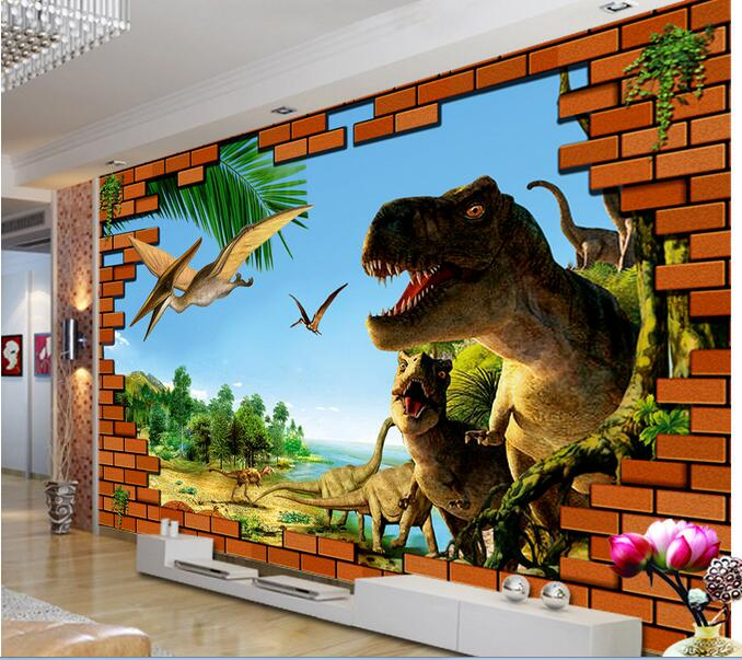 3d room wallpaper custom mural non woven wall sticker 3 d for Dinosaur land wallpaper mural