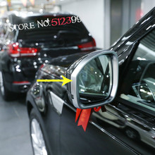 2* Car Door Rear View Wing Mirror Rain Eyebrow Cover Decorative Frame Trim For Land Rover Discovery 5 L462 2017 2018 Car Styling