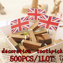 free shipping 500pcs/1lot Shipping the British flag cake decoration Cup Cake toothpick Cup Cake fruit fork