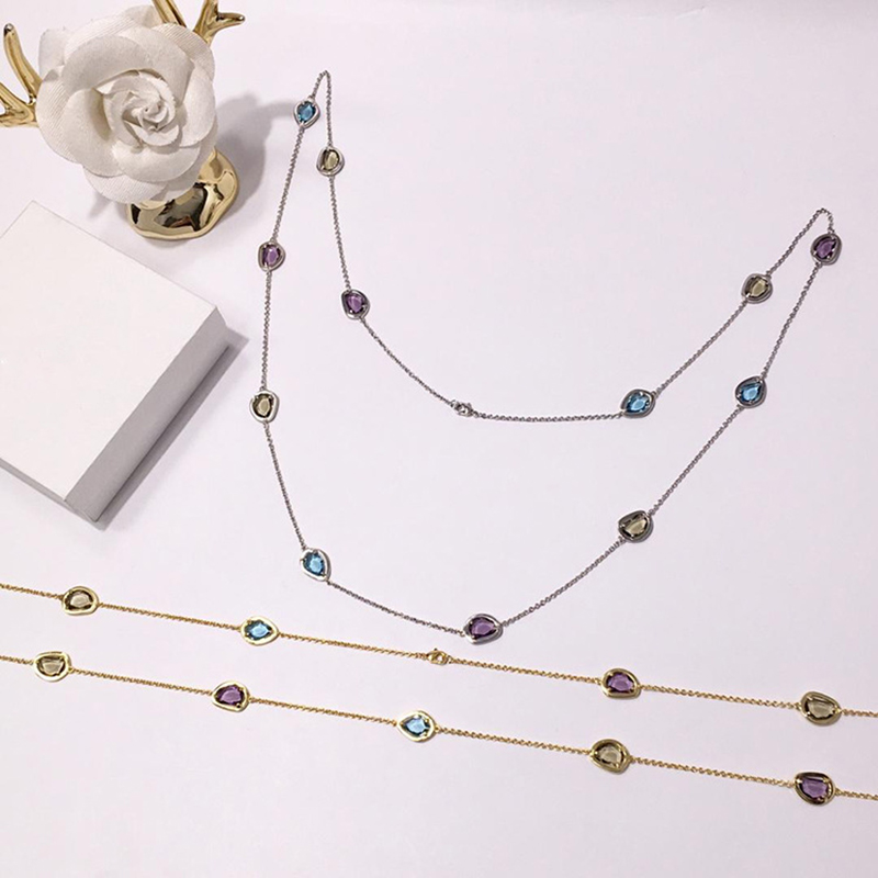 Famous Brand Jewelry Colorful SWR Crystal Necklace Long Chain 12 Stones High End Candy Style Sweater Necklaces for Beauties