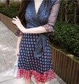 2016 осень V воротник печать рукав семь дамы темперамент сексуальные кружева манжеты получил грудь красоты приморский праздник платье