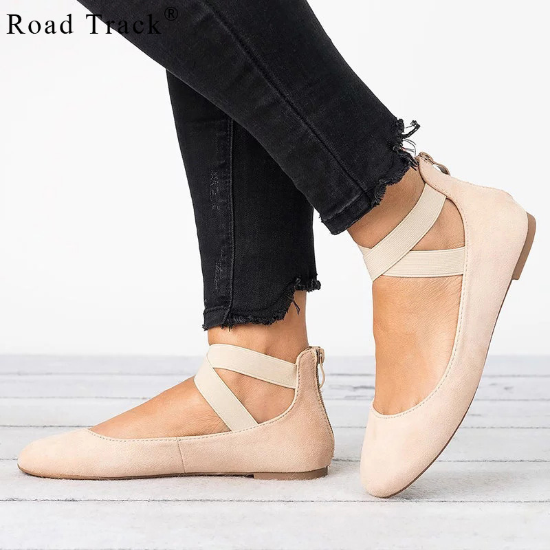Road Track Female Shoes Solid Flock Ballet Flats Solid Zip Flat Round Toe Shallow Shoes Ladies Shoes XWA2171-5