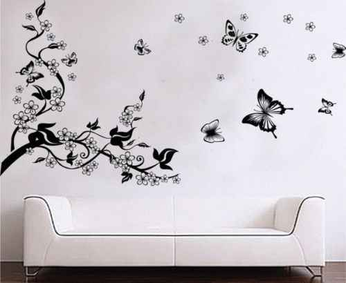 Large Black Butterfly Tree Vine Flower Mural Art Wall  Decal Stickers Vinyl Decal Home Room Decor DIY