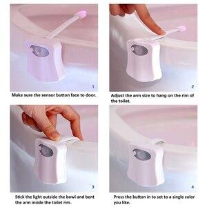 Image 5 - Livraison directe Smart PIR capteur de mouvement siège de toilette veilleuse 8 couleurs rétro éclairage cuvette de toilette lampe à LED WC lumière AAA carte de batterie