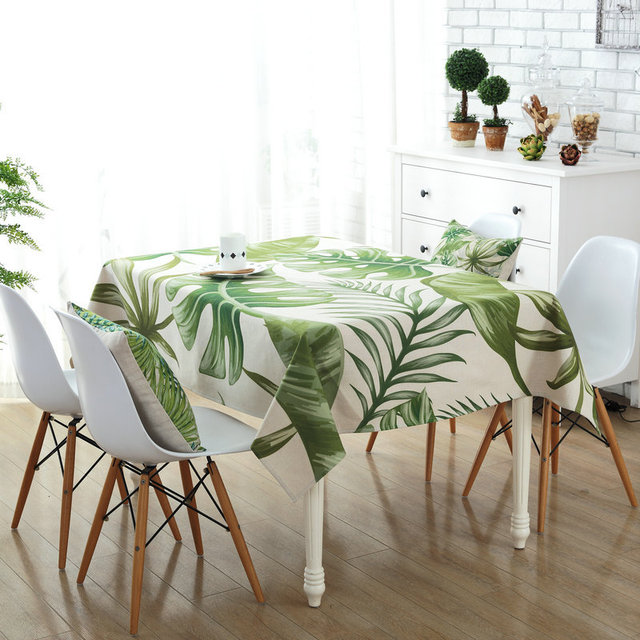 Green Rectangle Tablecloth Polyester Plant Leaves Printed Table Covers Dust  Proof Thick Table Cloth Home Kitchen