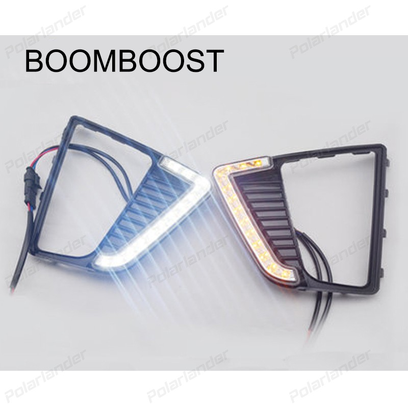 BOOMBOOST 2 pcs DRL car LED lights with yellow turn signals lights  accessory for H/yundai IX25 2014-2015 daytime running light boomboost 2pcs car accessory led for h onda f it or ja zz 2014 2015 car stylng daytime running lights