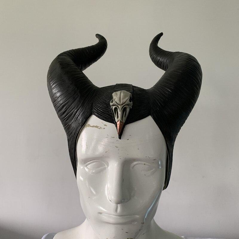 Головной убор Maleficent с рожками колдуны, маска для косплея, головной убор, шлем для вечеринки, Черная Королева, латексная маска, костюм для Хэллоуина