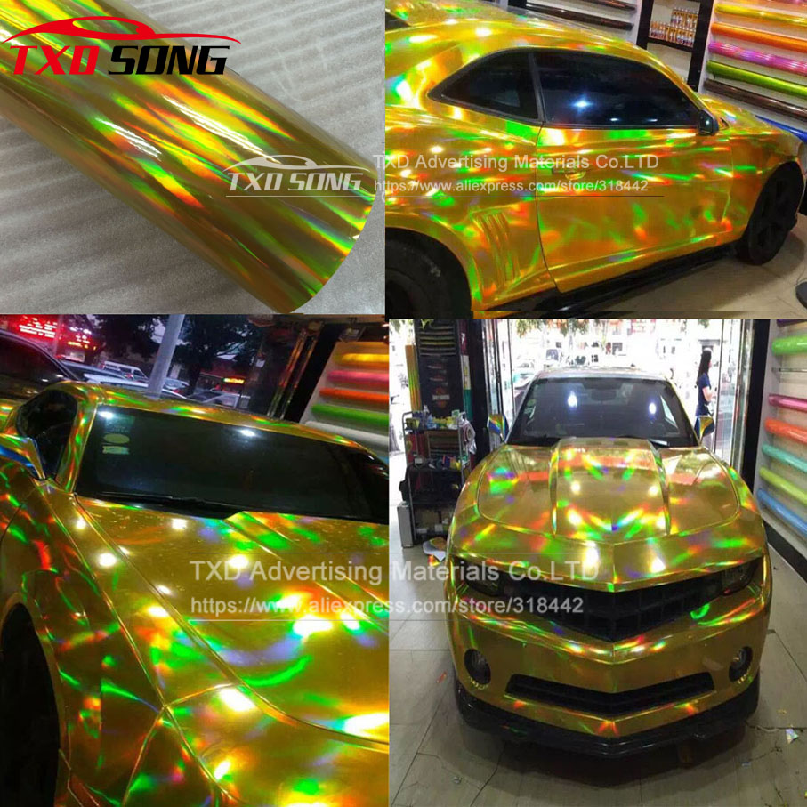 Car sticker design sample - 20x49cm Lot Gold Chrome Holographic Wrap Rainbow Vinyl Film Chrome Laser Vinyl Car Sticker With