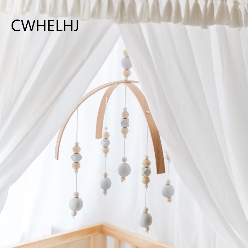 Nordic Baby Kids Room Wall Hanging Decoration Wooden Beads Children Bed Tents Hanging Decorative Photography Props Newborn Gift