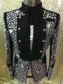 2016 de Alta qualidade artesanal Moda Masculina Completa Brocas de Cristal Jaqueta Desempenho trajes Cantor dancer stage show roupa
