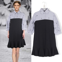 Embroidery Europe America Style Big Yard Plus Size Spring Autumn New Women Shirt Collar Splicing Stripes