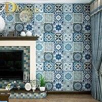 Blue Romantic Bohemia National Faux Tile Wallpaper Moroccan Tile Style Mosaic Vinyl Wall Cover Paper