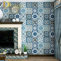 Blue Romantic Bohemia National Faux Tile Wallpaper Moroccan Tile Style Mosaic Vinyl Wall Cover Paper