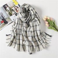 shistal 100% wool scarves black white weaving plaid branded shawl long size 200*85 soft shawl for autumn and winter