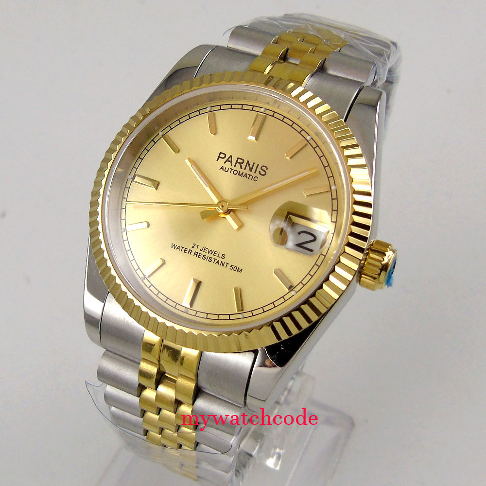 Luxury 36mm Parnis yellow gold dial Datejust Miyota 8215 automatic mens watch rolex datejust blue dial automatic stainless steel and 18k yellow gold mens watch 116233blsj