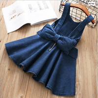Y1811843 2018 New Spring Baby Girls Dress Suspendent Lolita Girl Dress Big Bow Girl Princess Dress
