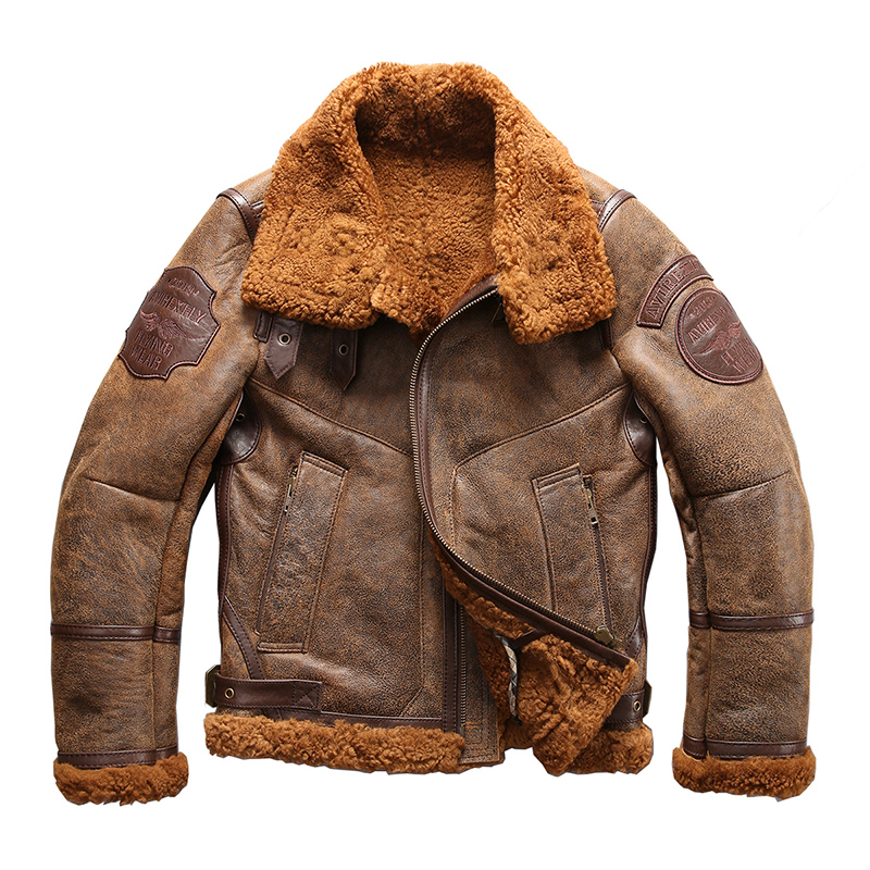european size high quality super warm genuine sheep leather jacket mens big size B3 shearling bomber military fur jacket 8001