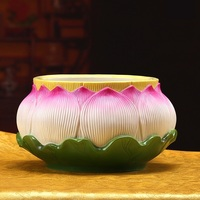 Porcelain Lotus Storage Jar Handmade Porcelain Flower Organizer Canister Chinaware Decor Present Craft Embellishment Accessories