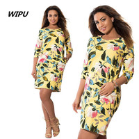 5XL 6XL Large Size Roses Printed Dress Straight Culb Party Dresses New Summer Dress 2018 Plus