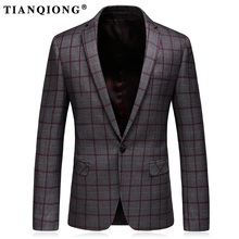 TIAN QIONG Blazer Men Gray Plaid Wool Blazer Mens Formal Jacket Blazers for Stylish Men's Casual Slim Fit One Button Suit Jacket