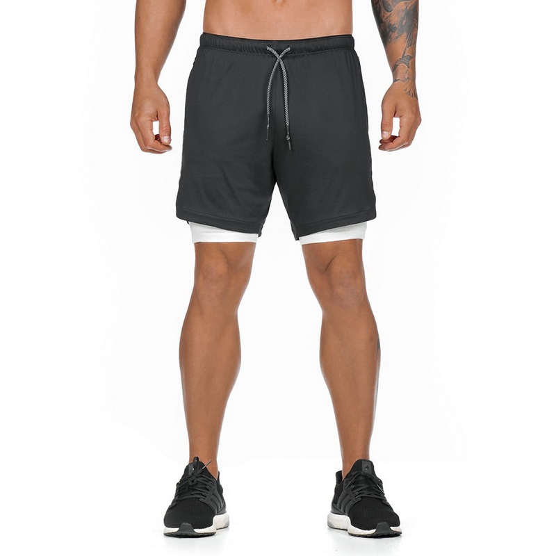 MJARTORIA Male2 in 1 Running   Shorts   Security Pockets Leisure   Shorts   Quick Drying Sport Breathable Pockets Zipper Pockets   Shorts