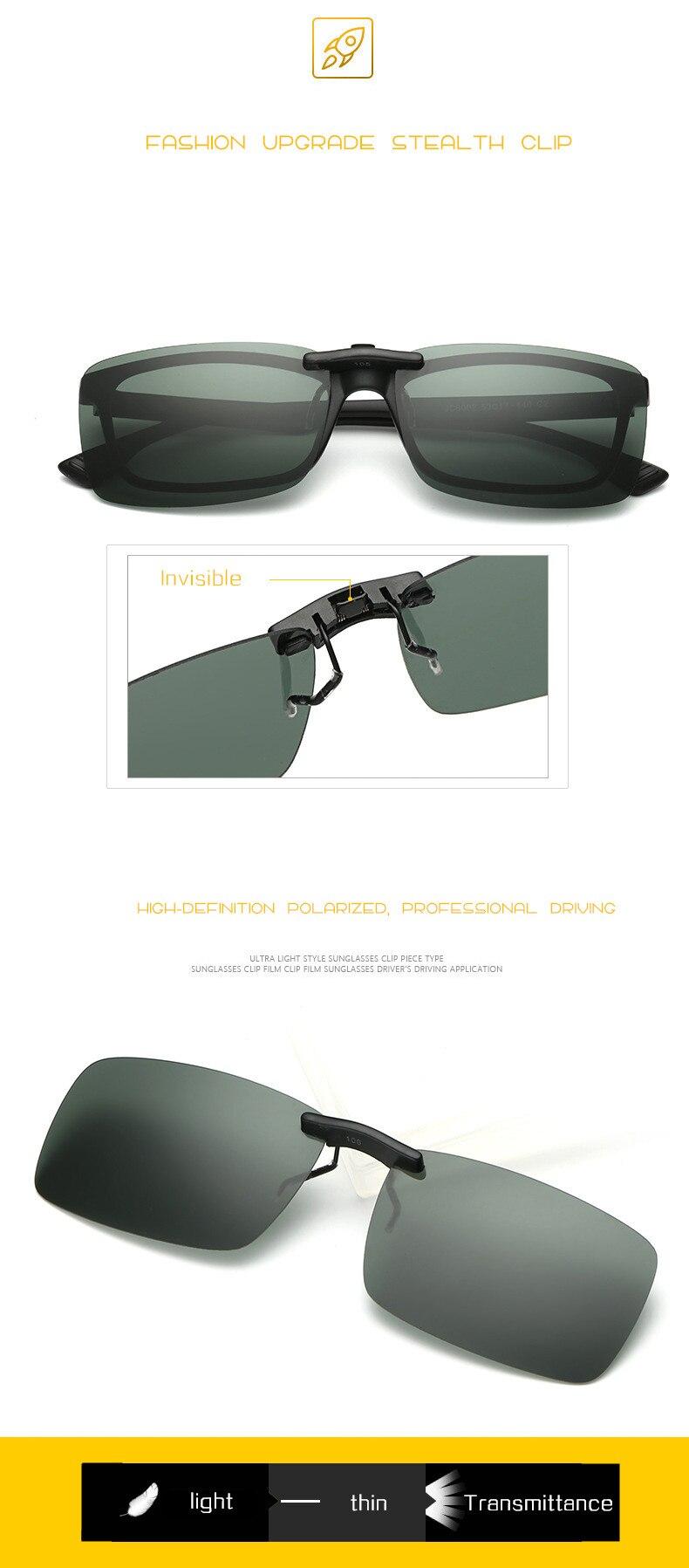 2130f2c9be4 Classic Polarized Lenses Sunglasses Clip on Myopia Glasses Rimless Men  Women Night Vision Driving Sunglasses Flip on Glasses