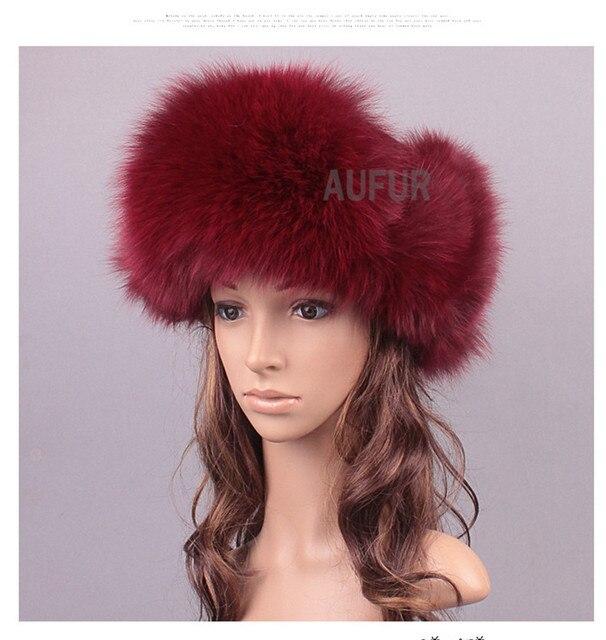 Женщины фокс меховые шапки натурального меха шапки россии Hat сплошной цвет снег головные уборы ушами зимой бомбардировщик шляпа AU00820